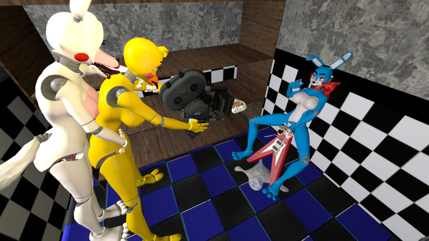 fnaf toy bonnie toy chica and Connor detroit: become human